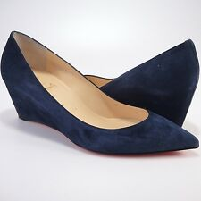 Christian Louboutin 40 10 Pipina 55mm Dark Blue Gray Suede Wedges Heels #936