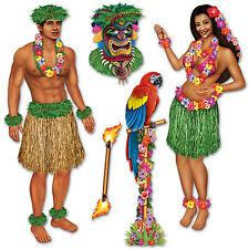 Hawaiian Luau Girl & Polynesian Guy Tropical Party Scene Setter Decoration Props