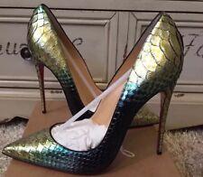 NWB 38.5 $1495 Christian Louboutin REAL Python Snake Designer So Kate RARE!!!!!!