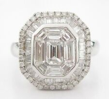 1.55 TCW Baguettes and Round Brilliants Octagon Diamond Ring F-VS-2 18Kt WG