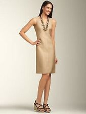 NEW $189 TALBOTS Tan,Gold Luster Linen V-Neck Sheath Dress Sz 4