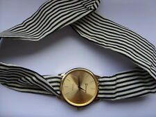 Lovely Summer Ladies Black and White Patterned Scarf Gold Faced Watch