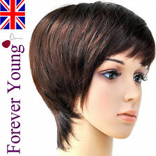 Ladies Short Black Auburn Wig Hair Boycut Style! Forever Young Vogue Wigs