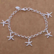 New 925 Silver Plated Star Fish Bracelet Charms Fashion Bangle Women Jewelry UK