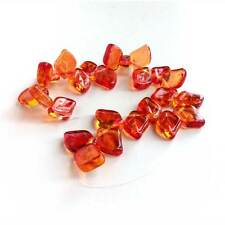 Fire Opal Glass Leaf Beads Czech Rich Fall Autumn Color Fuchsia Pink Yellow 12mm