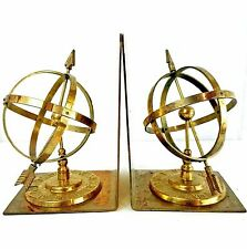Brass Bookends Vtg Globe Arrow Armillary Sphere Library Patina Hollywood Regency