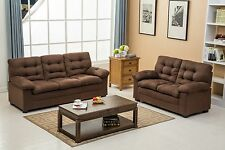 The Room Style Chocolate Microfiber / Black Pu Leather Sofa & Loveseat Set