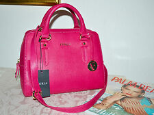 New $378 FURLA Elena Small Saffiano Leather Satchel Handbag Gloss Pink Fuchsia