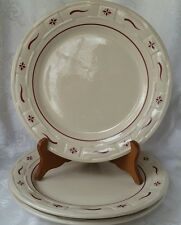 "THREE (3) Longaberger 10 1/""4 Dinner Plates Woven Traditions Heritage Red"