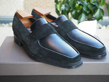 £1150 NEW MAISON CORTHAY BLACK LEATHER SUEDE LOAFERS SHOES UK9 US10 EU43 ARCA