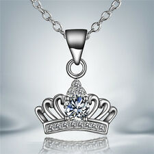 NEW 925 Silver Plated Crown Rhinestone Necklace Pendant  LF