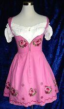 Dirndl Original Steindl Gr 34 rosa mit Carmenbluse und Schürze Vintage bestickt