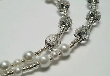 Classic Czech Glass Pearl Silver Beaded Eye Chain Reading Swarovski Crystal