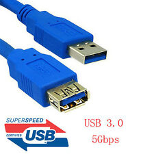 6ft 6feet USB 3.0 A Male to A Female Data Extension Cable Blue for PC Laptop