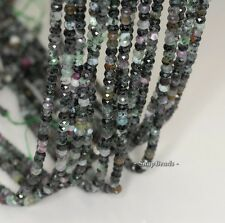 """4X3MM DARK RUBY ZOISITE GEMSTONE GRADE B FACETED RONDELLE LOOSE BEADS 16"""""""