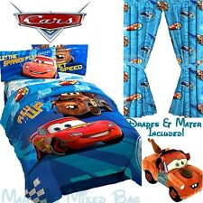 DISNEY CARS 2 Boys Blue Full Size Bedding COMFORTER Set+DRAPES+TOW MATER PaL