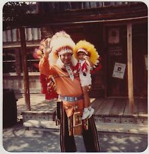 Square Vintage 80s PHOTO Little Girl Indian Chief Red Feather Knott's Berry Farm