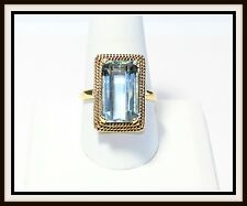 Vintage GIA Certified 18k Yellow Gold 9.75ct Aquamarine Ring