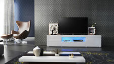 "White High Gloss Modern TV Stand Unit Media Entertainment Center ""Santiago V2"""