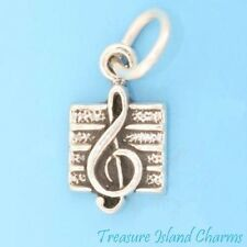 SMALL TREBLE CLEF MUSIC NOTE .925 Sterling Silver Charm