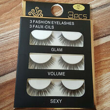 New Black 3 Pairs Natural Long Lashes Makeup Handmade Thick Fake False Eyelashes