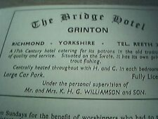 ephemera 1971 advert the bridge hotel grinton mr mrs k h williamson