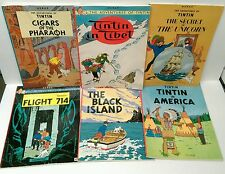 SIX paperback Hergé ADVENTURES OF TINTIN comic books - READING WEAR & CREASES
