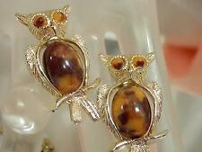 Lot 2 Super Cute Vintage 1950's Caramel Mocha Jelly Belly Owl Brooch Set 96J