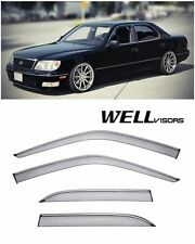 For 95-00 Lexus LS400 WellVisors Side Window Visors W/ Chrome Trim