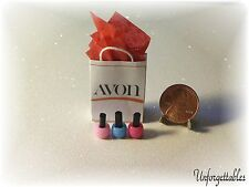 ❤Dollhouse Miniature Handcrafted Avon Gift Bag and Nail Polish Set  1:12 Scale