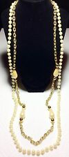 Vintage Gold And Pearl Long Double Strand Necklace