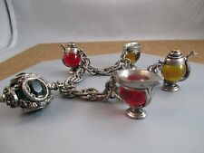 Vintage Charm Bracelet Glass Tea pot, & cups  Crown dangle unique costume estate
