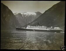 Glass Magic Lantern Slide STEAMSHIP IN FJORD C1890 PHOTO SOUTH NORWAY NO131