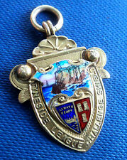 Attractive Vintage 9ct Gold Enamel Football Fob Medal - Tyneside Cup h/m 1934