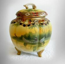 Nippon hand painted biscuit or cracker jar - Indian in canoe scene FREE SHIPPING