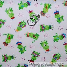 BonEful Fabric FQ Cotton Quilt FROG PRINCE S Crown Green Star Kiss Baby Boy Girl