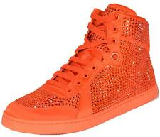NEW Gucci Women's Coda Orange Satin Effect Crystal Stud High Top Sneakers 40 10