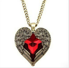 Women's Vintage Red Hearts Long Necklace Angel Wings Sweater Pendant Accessories