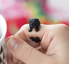 Gunmetal Black Plt Pug Dog Ring  / Thumb Ring Adjustable ladies Mens gift