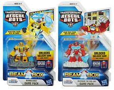 Transformers Rescue Bots BUMBLEBEE & HEATWAVE Figure Beam Box Game Pack Lot of 2