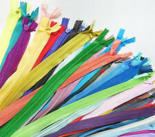 "lot of 24 zippers 16"" / 41cm. Assorted Mix Colors Closed End Invisible Zippers"