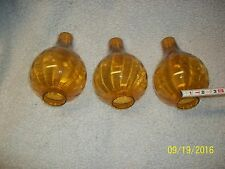 Lot of 3 Vintage Amber Ribbed Glass Hurricane  Lamp Globe Chimney Shade