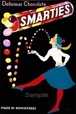 VINTAGE SMARTIES CHOCOLATE SWEETS ADVERTISING A4 POSTER PRINT