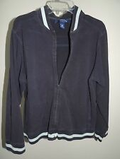 Womens Size Large * CHARTER CLUB * Blue Hooded Jacket Hoodie Jacket Stretch
