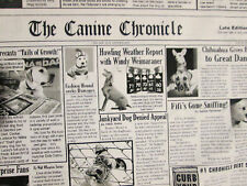 DOG NEWSPAPER BLACK WHITE PUPPY NEWS CHONICLES COTTON FABRIC FQ