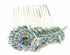 Peacock Feather Hair Comb Bridal Art Deco 1920s Flapper Blue Green Silver B32