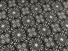"Floral Viscose Rayon Fabric Dress Making Fashion - Black White  58""/ 145 cm Wide"