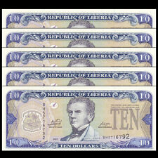 Lot 5 PCS, Liberia 10 Dollars, 2011, P-27f, UNC