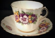 "Old Royal "" Pansies"" Fine English Bone  China ~ Tea Cup And Saucer Set"