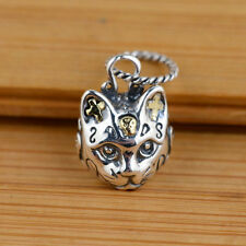 925 Sterling Silver Cute Cross Skull Cat Biker  Charm Pendant S200